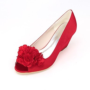 Women's Evening Peep Wedding 4U Heel Shoes Summer Null Shoes Party Applique Ivory Wedge Spring Satin Basic Wedding Pump Toe Null For Best red O58RxR