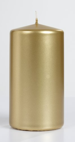 Elegant Gold Metallic Pillar Candle 6 Inch Tall And 3 Inch Thick Burn 72 Hours Set of 1