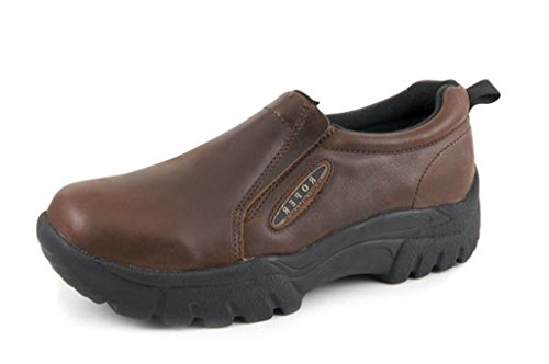 Roper Men's Performance Smooth Leather Slip-On Shoes Round Toe Brown 13 D(M) (Smooth Mens Roper)