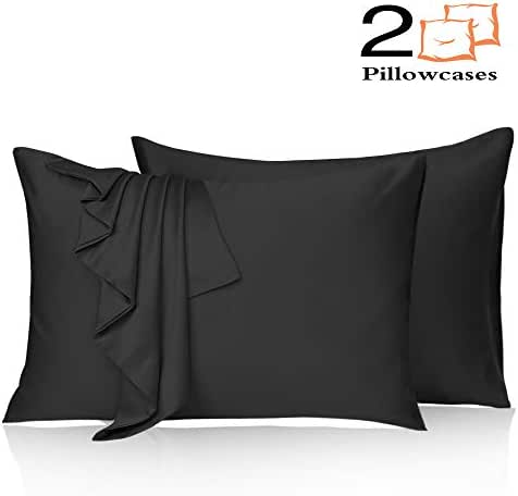 Leccod 2 Pack Silky Satin Pillowcase for Hair and Skin Cool Super Soft and Luxury Pillow Cases Covers with Envelope Closure (Black, King: 20x36)