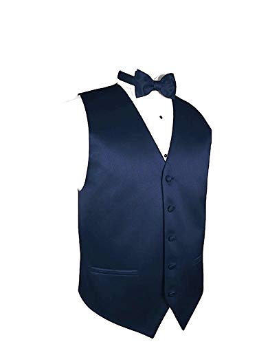 Exclusive Distributor Men's Vest & Bow Tie Set- Navy Blue L ()