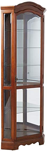 (5-Shelf Corner Curio Cabinet Medium Brown and Clear )