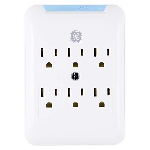 GE Pro Surge Protector Wall Tap, 6 Outlets, 3 Prong, Protected Indicator Light, Mounting Screw, 15A, 540 Joules, UL Listed, White, 38431 -