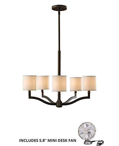 Feiss F2519/5ORB, Stelle Chandelier Lighting, 5LT, 300 Watts, Bronze (Includes Mini Desk Fan)