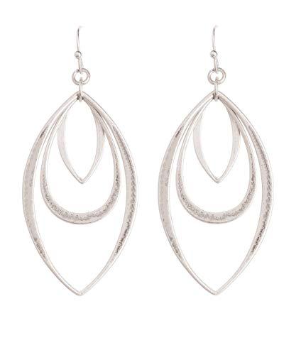 Silver-Tone Triple Teardrop Dangle Earrings