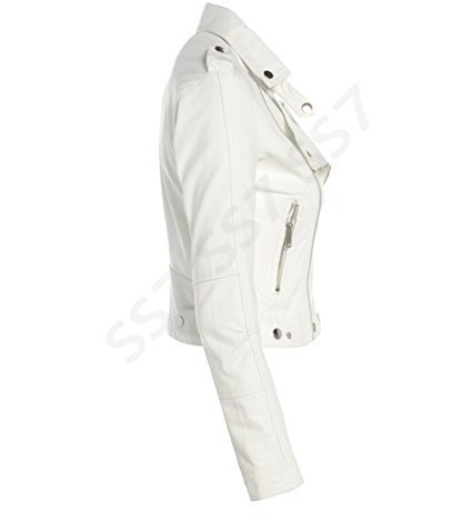 Off Ss7 White Donna Giacca Biker qw7wxtU1