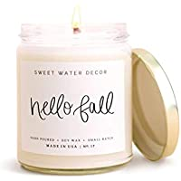 Sweet Water Decor Hello Fall Candle | Cinnamon, Apples, and Clove Autumn Scented Soy Wax Candle for Home | 9oz Clear Glass Jar, 40 Hour Burn Time, Made in the USA