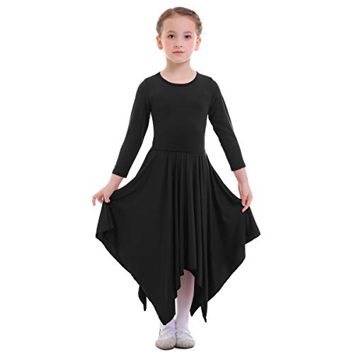 IBTOM CASTLE Kids Girls Liturgical Praise Dress Long Sleeve Irregular Loose Fit Lyrical Dancing Ballet Dancewear Worship Costume Praisewear S# Black 7-8 Years