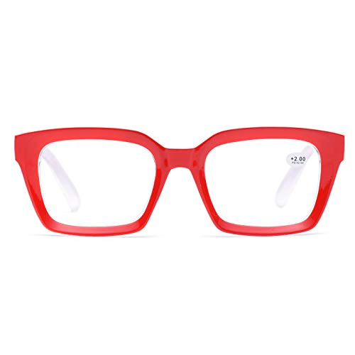 Retro Oprah Style Square Reading Glass Big Eyeglass Frames Large lens 50mm (Red, 2.5)