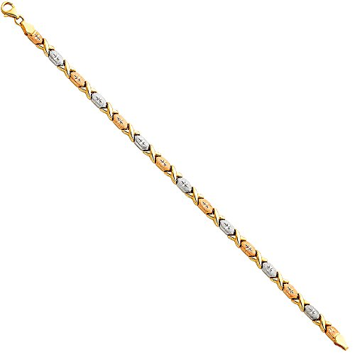 """The World Jewelry Center 14k Tri Color Gold Diamond Cut Stampato XOXO Bracelet with Lobster Claw Clasp - 7.25"""""""
