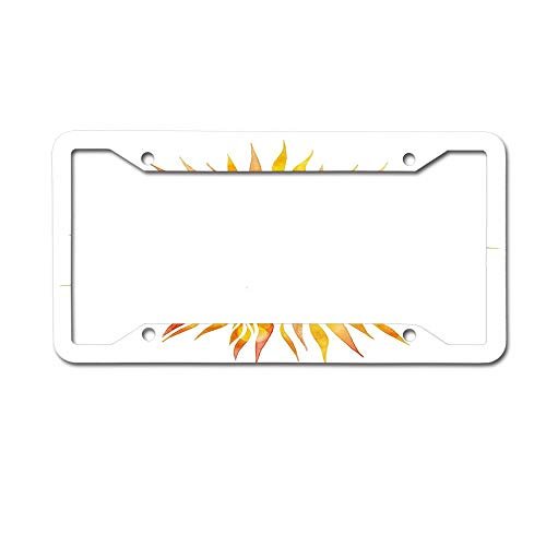 MichelleSmithred Hand Drawn Graphic Sunburst Watercolors with Wavy Rays Warm Weather Summertime License Plate Frame Aluminum Metal Tag for US Canada Standard 4 Holes Screws