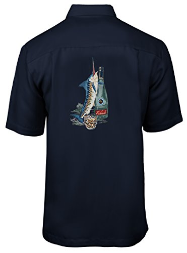 Hook & Tackle Men's Fishtails ll Short Sleeve Embroidered Fishing Shirt Navy Large