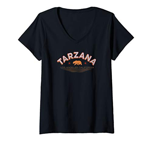 Womens Tarzana Los Angeles Shirt LA Valley Neighborhood Cali Bear V-Neck T-Shirt