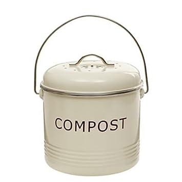 Komposteimer, cremefarben, aus Stahl mit austauschbarem ...