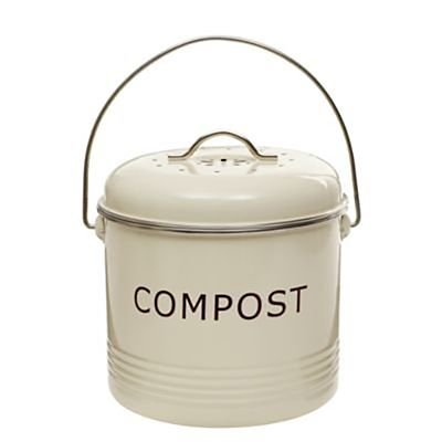 Komposteimer, cremefarben, aus Stahl mit austauschbarem Aktivkohlefilter, 3,5 L lakeland