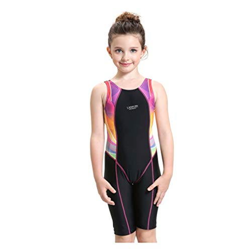 Peacoco Girls' Solid Splice Athletic One-Piece Swimsuits Racerback Competive Legsuit for 6-8 ()