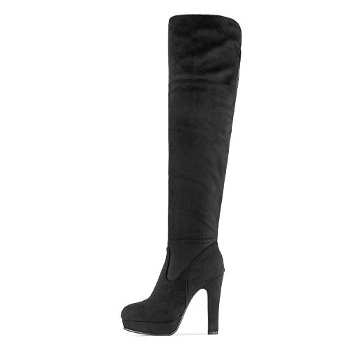 DREAM PAIRS Women's HIGHPLAT Black Chunky Thigh High Over The Knee High Heel Boots Size 8.5 B(M) US