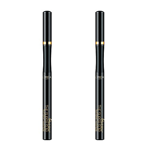 L'Oréal Paris Makeup Infallible Super Slim Long-Lasting Liquid Eyeliner, Ultra-Fine Felt Tip, Quick Drying Formula, Glides on Smoothly, Black, 2 Count