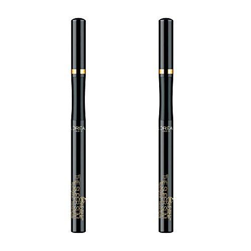 L'Oréal Paris Makeup Infallible Super Slim Long-Lasting Liquid Eyeliner, Ultra-Fine Felt Tip, Quick Drying Formula, Glides on Smoothly, Black, 2 Count (Best Drugstore Brush Tip Eyeliner)