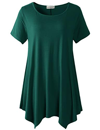 LARACE Plus Size Round Neck Flare Tunic Top for Leggings(3X, Dark Green)