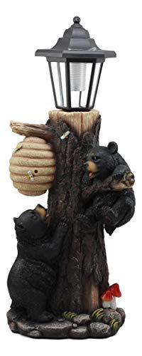 Ebros Large Climbing Black Bear Cubs Reaching for Honeycomb Beehive LED Path Lighter Statue 19''Tall with Solar Lantern Light Welcome Sign Guest Greeter Decor Figurine by Ebros Gift (Image #1)