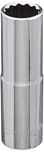 STANLEY 1-86-423 Chrome Vanadium Steel 12 Point Deep Socket, 1/2 inch, 16 mm, Silver Price & Reviews