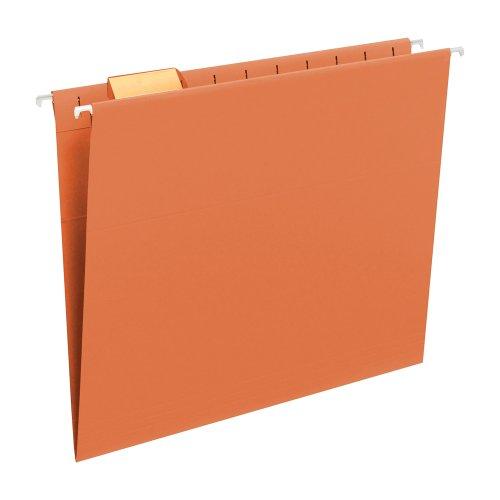 Smead Hanging File Folder, 1/5-Cut Adjustable Tab, Letter Size, Orange, 25 per Box (64065)