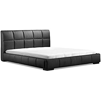 Amazon.com: Modern Contemporary King Size Bed, Black Leatherette ...