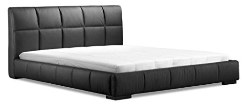 Modern Contemporary King Size Bed, Black Leatherette Wood
