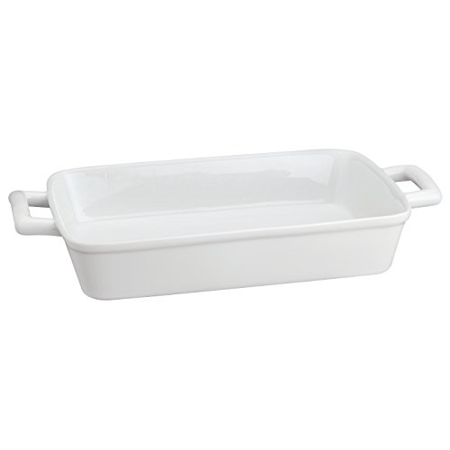 HIC Oblong Rectangular Baking Dish Roasting Lasagna Pan, Fine White Porcelain, 13-Inches x 9-Inches x 2.5-Inches (Dish Rectangular Porcelain)