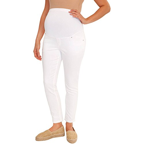 Great Expectations Maternity Full Panel Ankle Length Skinny Jeans (L/G (12-14, White)