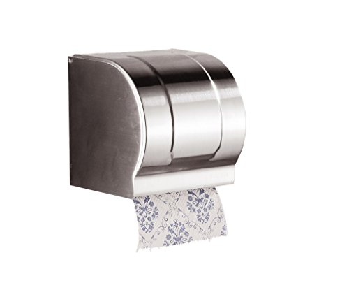 Cavoli Toilet Paper Holder and Dispenser with Cover,Wall Mount,Stainless Steel,Chrome(Small)
