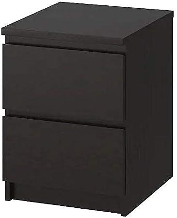 Ikea Malm Cassettiera Comodino Con 2 Cassetti Marrone Nero 40x55 Cm Amazon It Casa E Cucina