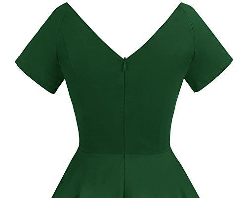 0003a4887b1 Gardenwed Women's 1950s Audrey Hepburn Vintage Cocktail Swing Dress Retro  Rockabilly Party Dress Green S