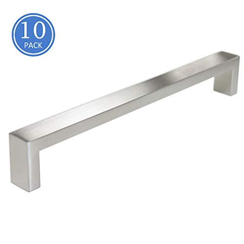 10 Pack Square Bar Kitchen Cupboard Cabinet Pulls 8-3/4 inch /224mm Hole Spacing Cabinet Handles Stainless Steel Satin Nickel Finish ()
