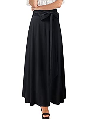VFSHOW Womens High Waist Pocket Belted Flowy Casual Party A-Line Long Skirt