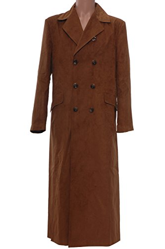 [Cosplaybar Men's long Brown Artificial Suede Trench Coat Halloween Costume Male M] (Tenth Doctor Dress)