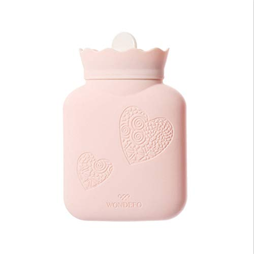 (Cute Safe 340ML Silicone Hot Water Bottle Hot Water Bag Pain Cold Knit Cover Mini Style Gift Box (Color : Pink))