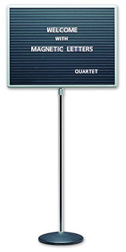 Quartet Adjustable Single Pedestal Letter Boards, 2 x 1.5 Feet, Magnetic, Black - Signs Magnetic Letters