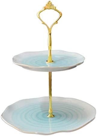 フルーツボウル リビングルームパーティーや結婚式、20x20cm、ブルーのための3 -Tiers欧州のセラミックフルーツボウルストレージラック、スナックナッツケーキキャンディデザートプレートリフレッシュメントサービストレイディスプレイスタンド
