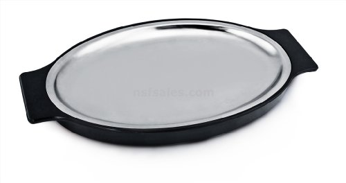 Stainless Steel Fish Platter - New Star Foodservice 26733 Oval Stainless Steel Sizzling Platter with Insulated Holder, 11.63 by 8-Inch, Black