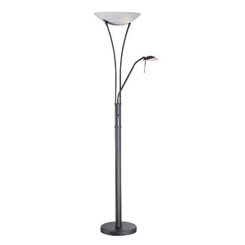 Lite Source LS-81699BLK/FRO Avington Torch/Reading Lamp with Frost Glass Shade, 25