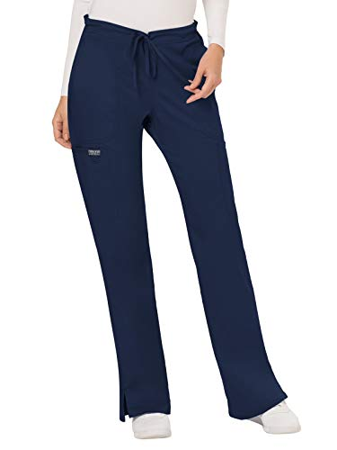 (WW Revolution by Cherokee Women's Mid Rise Moderate Flare Drawstring Pant Petite, Navy, Small Petite)