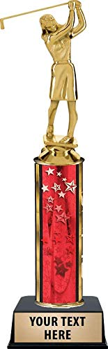 Golf Female Trophies, Red Stars Golf Female Trophy Award with Customized Engraving Prime