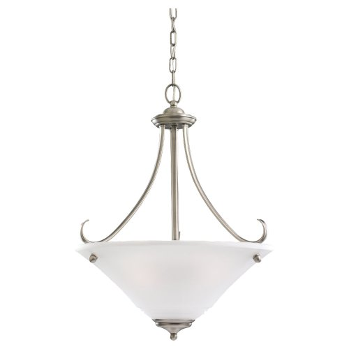 Sea Gull Lighting 65381-965 3-Light Pendant, Satin Etched Glass and Antique Brushed Nickel (3 965 Light Parkview)