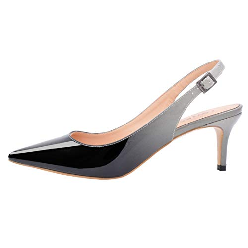 Lovirs Womens Black-Gray Slingback Ankle Strap Sandals Stiletto Mid-Heel Pointy Toe Pumps Shoes for Party Dress 8.5 M ()