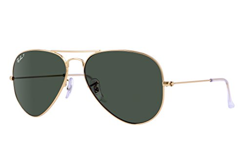 Ray-Ban RB3025 Aviator Sunglasses (58 mm, Gold Metal Frame/Polarized Green G-15 - 15 Polarized G