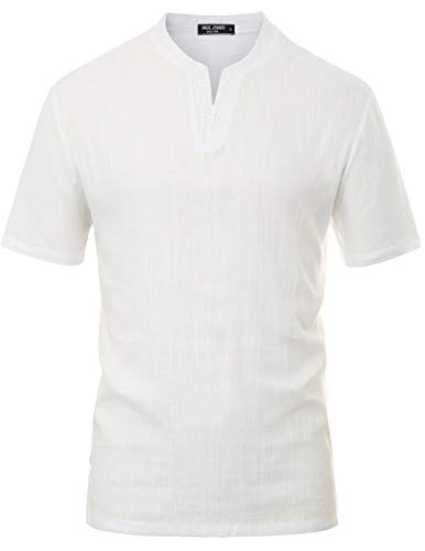Mens V Neck Linen Short Sleeve Shirts Banded Collar Henley Tops Size XL ()