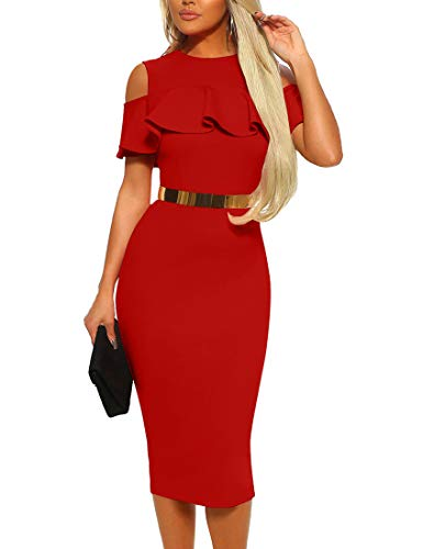 - Mizoci Women's Sexy Cold Shoulder Ruffle Bodycon Evening Party Club Midi Dress,X-Large,Red