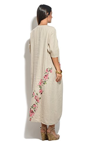 Femme Beige Robe Lin Collection Eté 100 Printemps 0wFg1q1x